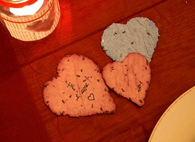 Un petit mot d'amour sur une carte faite maison