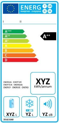 Ancienne étiquette énergie pour un frigo