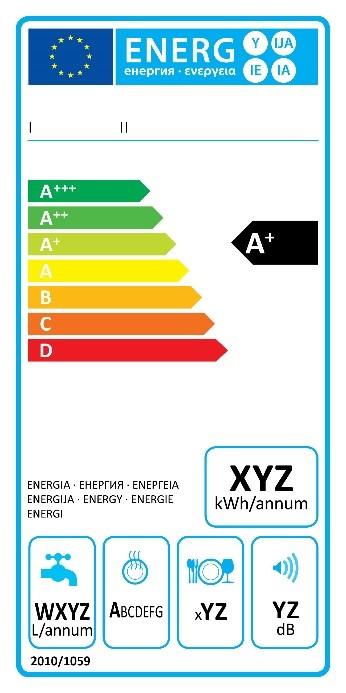 Ancienne étiquette énergie pour un lave-vaisselle