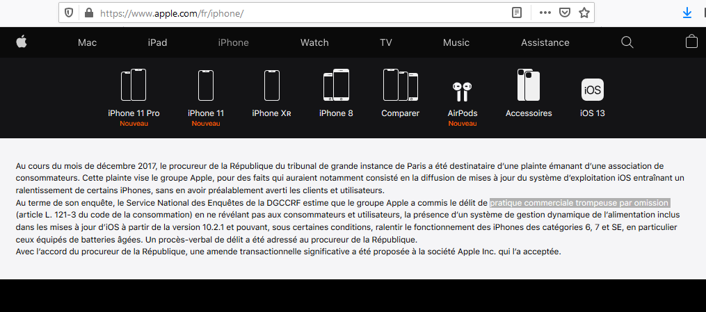 Affichage du jugement condamnant Apple