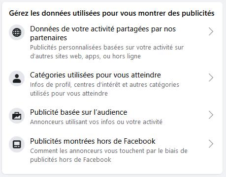 Pub et paramètres de confidentialité dans Facebook