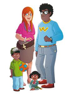 Maïté, Damien et leurs 2 enfants