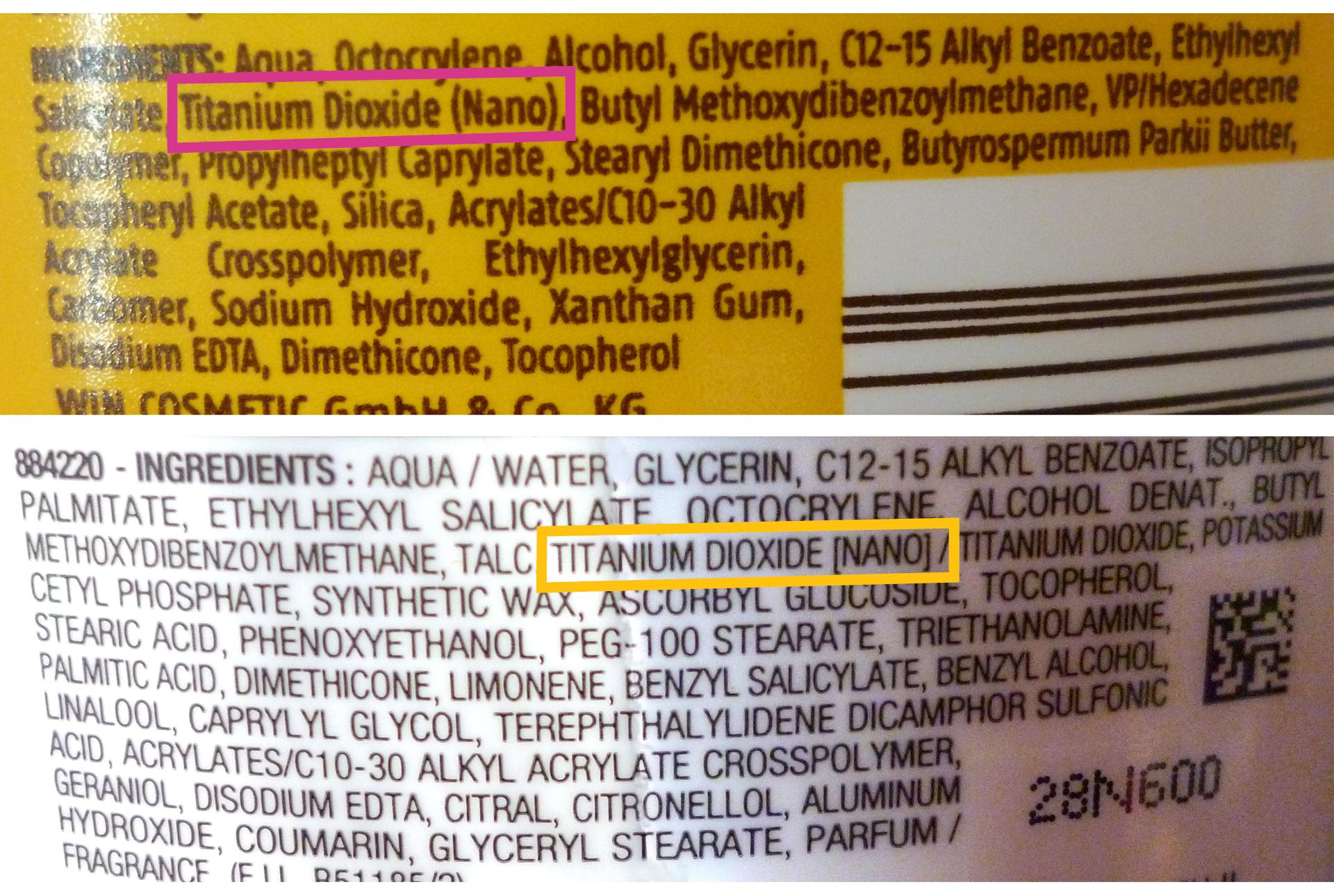 On évite les nanoparticules, obligatoirement mentionnées sur l'étiquette.