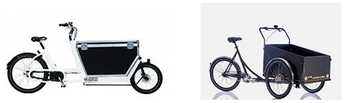 Vélo cargo à bac et triporteur