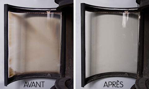 Nettoyer avec de la cendre : avant-après