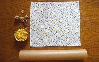 Matériel pour fabriquer un emballage réutilisable à la cire façon bee's wrap