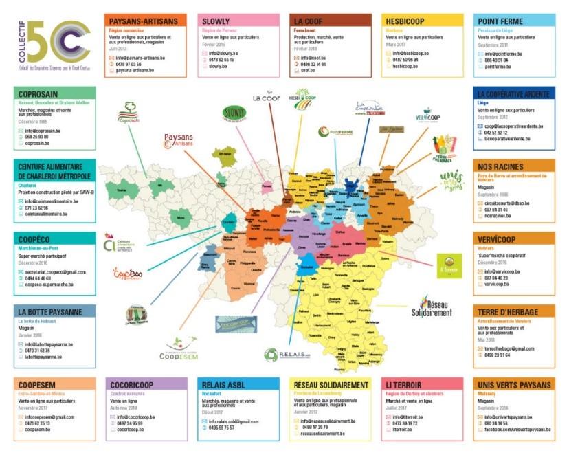 Carte des coopératives du collectif 5C
