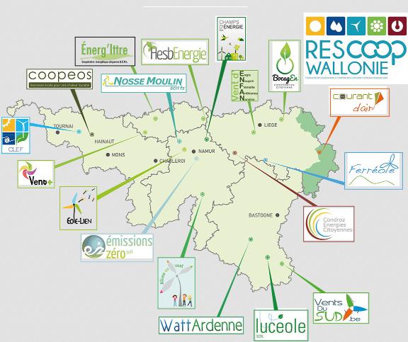 Carte des coopératives reprises au sein de Rescoop Wallonie