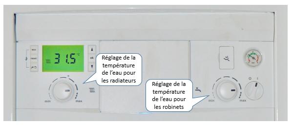 Réglage de la température sur une chaudière mixte