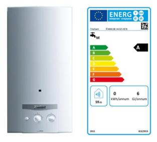 Exemple de chauffe-eau au gaz et son étiquette énergie