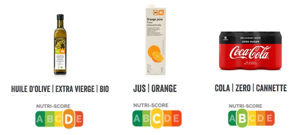Comparaison du nutriscore de plusieurs produits