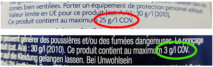 Affichage des COV sur l'étiquette des peintures