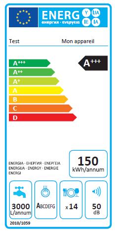 Étiquette énergie d'un lave-vaisselle