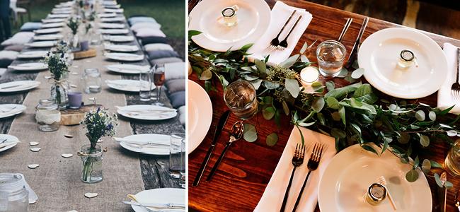 Décoration florale minimaliste et verdure pour la table