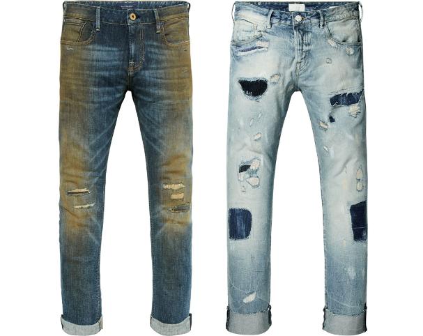 Jeans neufs délavés, salis, troués