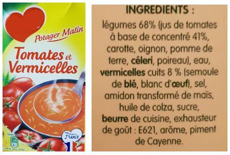 Exemple de liste d'ingrédients
