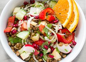 Lentils in vegetarian salad