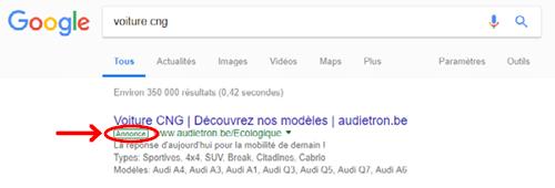 Affichage des annonces dans Google