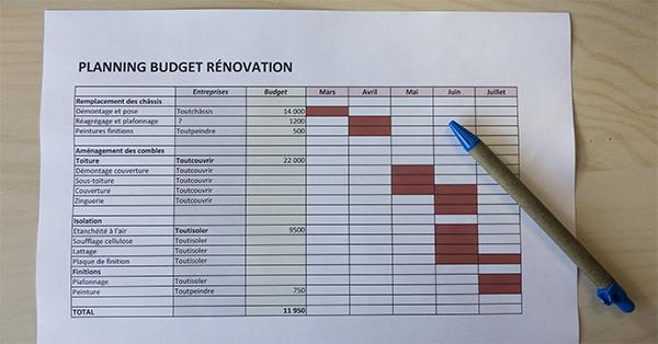 Exemple de planning et de budget pour une rénovation