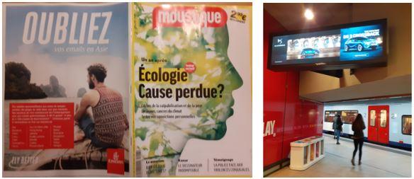 Des pubs pour un SUV dans une gare, une pub pour l'avion  dans un magazine qui parle d'écologie