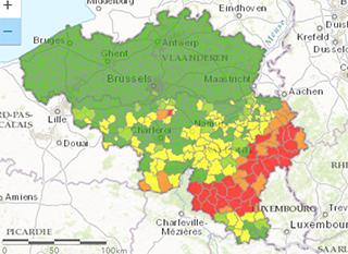 Où y a-t-il du radon en Belgique?