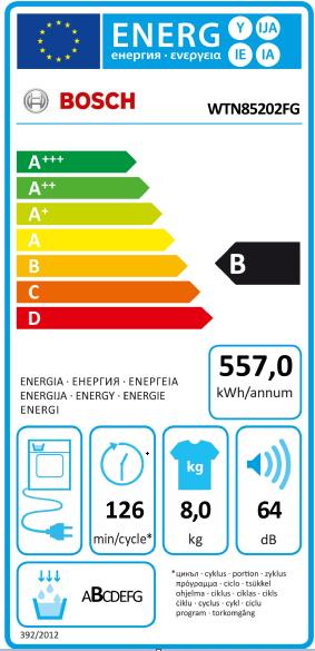 Étiquette énergie d'un sèche-linge à condensation