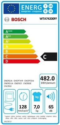 Étiquette énergie d'un sèche-linge à évacuation