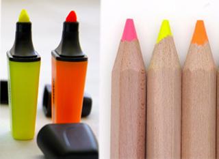 Surligneur fluo rechargeable. Mieux encore: en crayon.