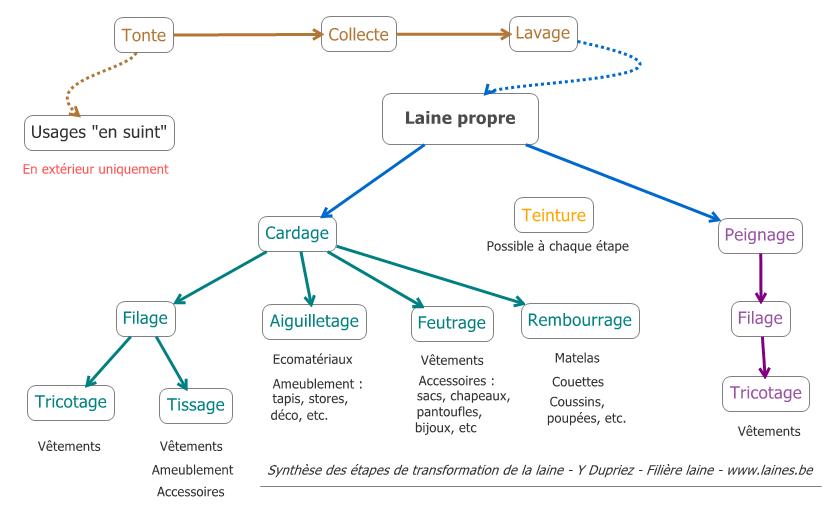 Les étapes de la transformation de la laine