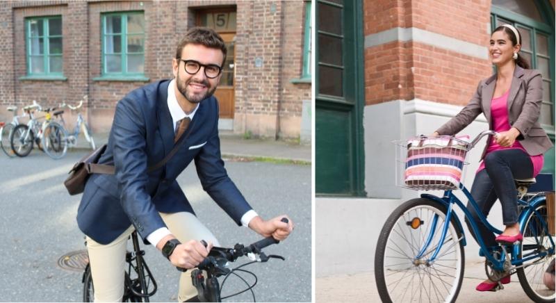 Faire du vélo, c'est tout à fait compatible avec une tenue chic pour le travail